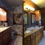 The before and after of a remodeled bathroom. This project included demolition, tiled floors, cabinets, counter-top, new faucets and trim.