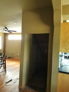 Before view of a storage area in the East Troy remodel.