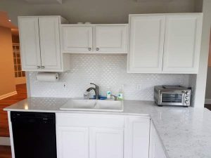 After image of the kitchen sink area of the East Troy remodel.