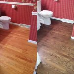 A before and after of wooden flooring that was redone in a bathroom.