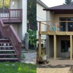 A before and after view of a deck that was redone.