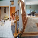 The before and after of the entry way flooring and remodeling that was redone.