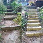 A before and after of outdoor stairs.
