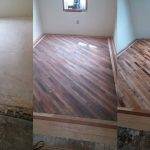 A before, during, and after of reclaimed wood flooring.