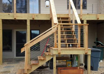 A deck remodel with new stairs.